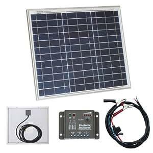 30W Photonic Universe kit Panneau solaire avec commende de charge 5 a et câble de batterie pour camping-car, caravane, bateau ou tout autre système 12 V 30 W
