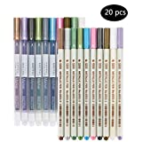 Marker Stifte,Wasserfeste Stifte Set in 20 Stücke Buntstift Metallic Art Stiften