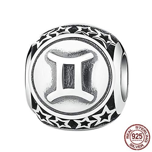 WANZIJING Charm Perlen für Armbänder, 12 Konstellationen Sterling Silber Star Bead DIY für Halskette Armband Schmuckherstellung und Crafting,Gemini