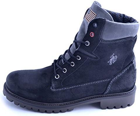 Zapatos Botines Polo Estampado EN Cuero Negro Y Talla Suede 42