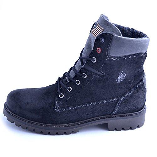 Schuhe Stiefel US Polo Assn in Schwarzem Leder und WILDGRÖßE 44 (Schuhe Polo Stiefel Herren)