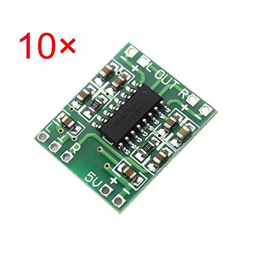 iHaospace 10 Pcs PAM8403 Mini Digital Amplifier Board 2 * 3W Class D Digital 2.5V to 5V Power Amplifier Board