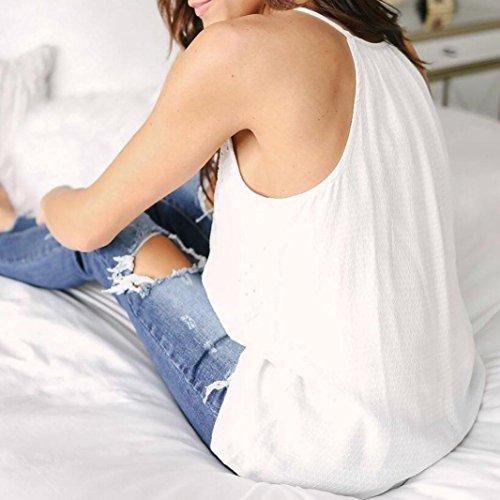Chemise Femme,Manadlian Tuniques Femmes T-Shirt DÉté Dentelle sans Manches Gilet Chemise Débardeurs Blouse Blanc