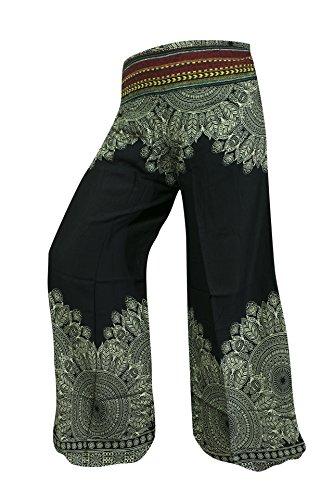 Pantalón Palazzo de pierna ancha o de campana estampado, hippy, boho, gitano, festival, hipster (Mandala Black)