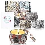 Zeonetak Duftkerzen Set 100% Sojawachs Kerzen Set(4pack)- Natürliches Aroma Kerzen Geschenk von Freesie Lavendel Rosmarin Französischer für Hochzeiten, Party, Weihnachten und Geburtstag