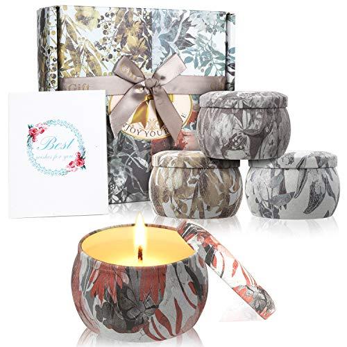 Zeonetak Duftkerzen Set 100% Sojawachs Kerzen Set(4pack)- Natürliches Aroma Kerzen Geschenk von Freesie Lavendel Rosmarin Französischer für Hochzeiten, Party, Weihnachten und Geburtstag -