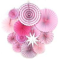Sunbeauty Decoración, Conjunto de Ventiladores, Decoración para Bodas, para cumpleaños o para la Fiesta, Decoración de Estrellas, 13 Piezas (Rosa)