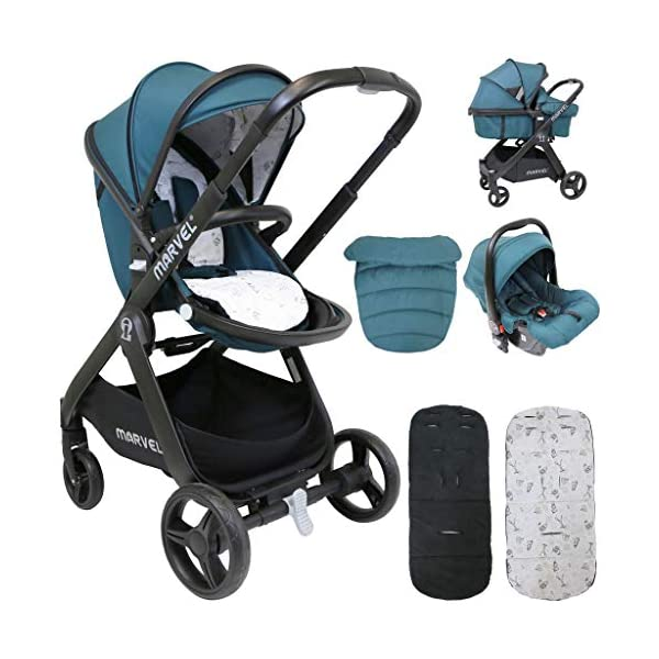 iSafe Marvel 2in1 Complete Pram System Pushchair and Carseat - Teal iSafe  1