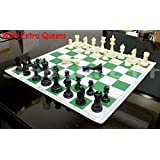 StonKraft 17'' x 17'' Tournament Chess Vinyl Foldable Chess Game with Solid Plastic Pieces (with Extra Queen) - Ideal for Professional Chess Players, Green
