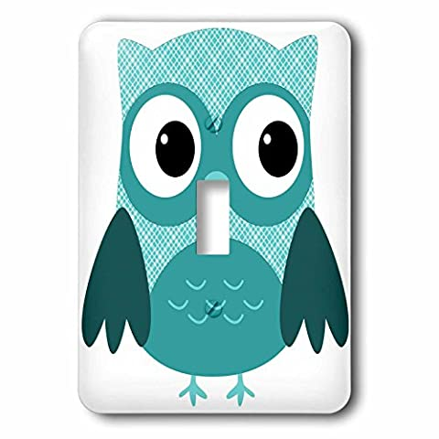 3dRose lsp_167617_1 Cute Light Blue Plaid Owl Single Toggle