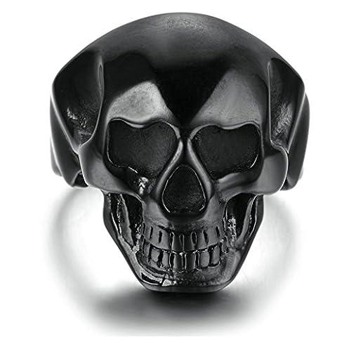 Epinki Bijoux Bague Homme-Acier Inoxydable Anneaux, Crâne Bague Gothique Noir 27*25MM Taille 61.5