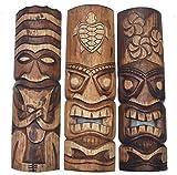 3 Tiki Máscaras 50cm IM HAWAI Estilo Juego de 3 Máscara de madera Máscara de pared MARES DEL SUR