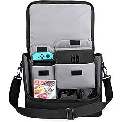 MoKo Nintendo Bolsa, Nintendo Switch Accesorios Bolso de Gran Capacidad de Viaje, Almacenamiento Protección para Consola de Conmutador de Nintendo Controladores Gamepad Cargador Cable, Negro & Azul