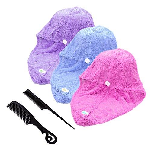 3er-Pack Large Mikrofaser Absorbent Haar Turban Haarpunzel Haartrockentuch Handtuch Kopftuch saugfähigen Tuch mit 3 Farben, 65x25cm Haar-turban