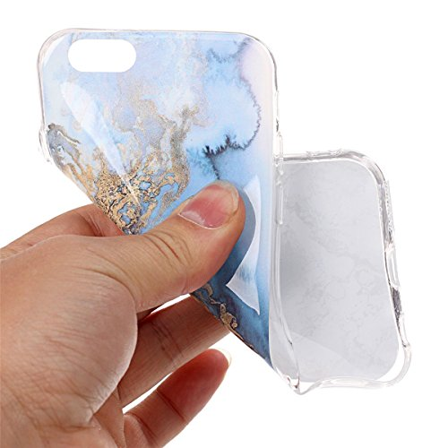 iPhone 6S Hülle Marmor, iPhone 6S Marble Case,iPhone 6 Weich Silikon Handyhülle,Lifetrut Marmor Design Soft Rückseite Stoßstange TPU Gummi Silikon Skin Tasche für iPhone 6S 6 [Jade Weiß] E201-Meerblau