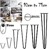 4pcs forcina gambe del tavolo Heavy Duty DIY mobili in metallo gambe del tavolo–stabile standard da tavolo, altezza 10cm a 72cm, nero