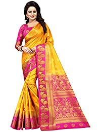 SAARAH Art Silk Saree with Blouse Piece (N4015YL_Yellow_Free Size)