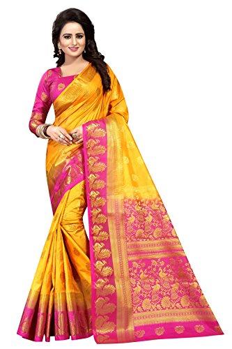 SAARAH Women Kanjivaram Art Silk Saree (N4015YL, Yellow)