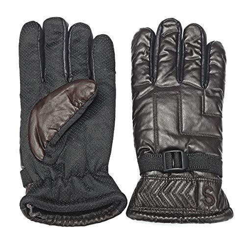 Forspero Warme Handschuhe Mittens Simulation Leder Vollfluff Windwasser-Windräder Kälteschutz - Brown - Windrad-tasche