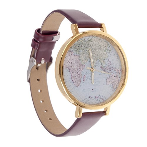 Diseño Vintage de alta calidad Unisex reloj infantil con mecanismo de cuarzo muñeca marrón sintética de la Alianza, Golden caja y globo/Pantalla diseño de mapamundi de eliminar archivos del registro