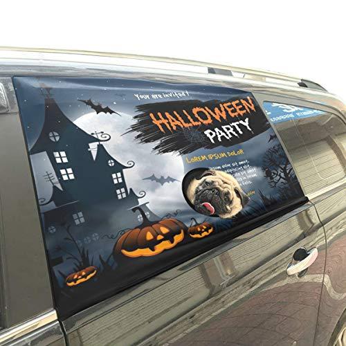 Wietops Halloween Haunted House Spooky Friedhof Hund Sicherheit Auto Gedruckt Fenster Zaun Vorhang Barrieren Protector Für Baby Kind Einstellbare Flexible Sonnenschutzabdeckung Universal Fit Für SUV