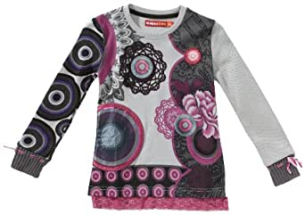 Desigual - Alfonso - T-Shirt à Manches Longues - Fille - Blanc (blanco lino 1004) - FR : 12 ans (Taille fabricant : 152)