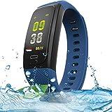 XUEME Fitness-Tracker, intelligentes Bluetooth-Armband IP68 wasserdichtes GPS läuft Radfahren Outdoor Sport-Armband-Herzfrequenz-Erkennung,Blue