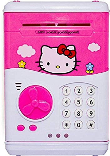 Electronic Password Protected Money Saving Vault, Safe, Coin Piggy Bank, Desposite Box for Kids, Children Coin Bank (Pink ,Hello Kitty)