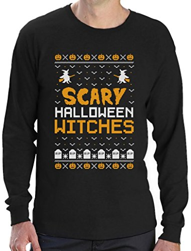 Scary Halloween Witches - Im Ugly X-Mas Style Langarm T-Shirt X-Large Schwarz (Günstige Scary Halloween Kostüme Ideen)
