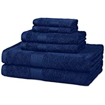AmazonBasics 6-Piece Fade-Resistant Cotton Bath Towel Set - Navy Blue