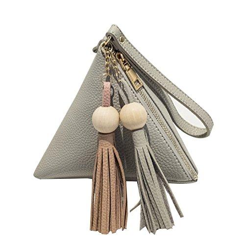 Mini Tassel Hand Persönlichkeit Wallet Dreieck Knödel Tasche,Black Gray