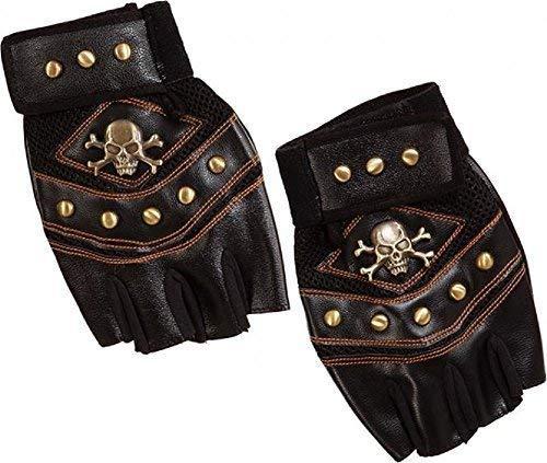 Damen Herren Unisex Biker Steampunk Finger-Less Handschuhe Halloween Karneval Junggesellenabschied Kostüm Kleid Outfit Zubehör