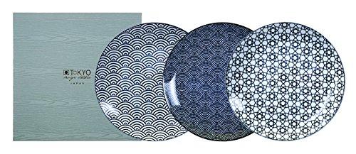 TOKYO design studio, Nippon Black, 3 Teller Set 25,7cm, Japan, rund, in dekorativer Geschenkbox. Speiseteller Porzellan Set. Design-porzellan