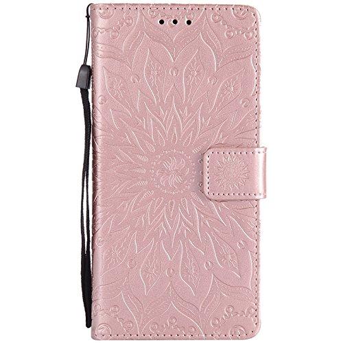YHUISEN Sony C6 Case, Sun Flower Druck Design PU Leder Flip Wallet Lanyard Schutzhülle mit Card Slot / Stand für Sony Xperia XA Ultra / C6 (6,0 Zoll) ( Color : Pink ) Rose Gold