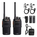 Walkie-Talkie, 2x Tacklife MTR01 Professionelle Funkgeräte mit 16 Kanälen, CTCSS/DCS Rauschsperre, Reichweite: 3-4 km, Frequenzbereich: 446,0-446,2 MHz (PMR446), 1 Paar wiederaufladbare Zwei-Wege-Radio (inkl. 2 Headsets, 2 Gürtelclips, Lithium-Ionen-Akkus, 1 Ladegerät mit USB)