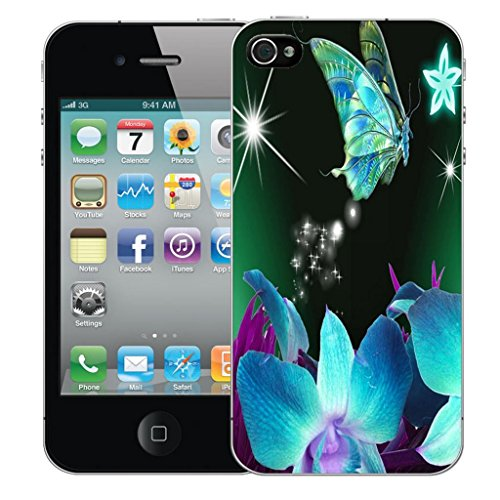 Mobile Case Mate iPhone 4s clip on Dur Coque couverture case cover Pare-chocs - cherished Motif blue star butterfly