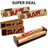OutonTrip Raw King Size Organic Deal - King Size Slim Organic Rolling Papers, 110mm Rolling Machine And Filter Tips - INCLUDES - OutonTrip Paper Astray Box ((rolling Paper Combo/ Rolling Paper Set/ Ocb Combo/ Smoking Papers Combo)