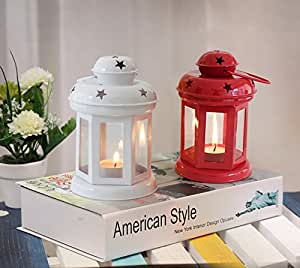 Tied Ribbons Home Decor Hanging Lantern With Tealight Candle Set Of 2 (White And Red)