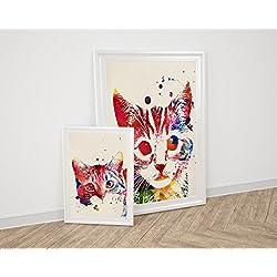 PACK de láminas para enmarcar GATOS. Posters estilo acuarela con imágenes de gatos. Decoración de hogar. Láminas para enmarcar. Papel 250 gramos alta calidad