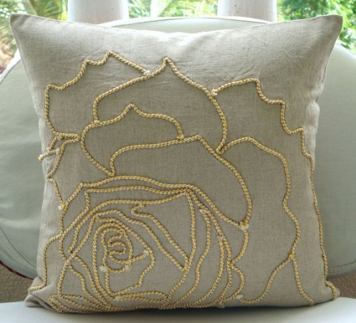 Fait main Écru Shams, Jute Rose Fleur Taies, 60x60 cm Taie, Cotton Linen Shams, Moderne Taies - Linen Rose