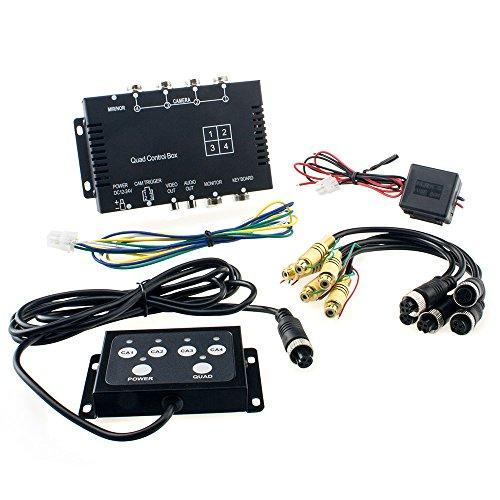 4X Video-Splitter mit 4 Anzeige-Modi Single/Dual/Triple/Quad z.B. für den Frontkamera, Rückfahrkamera, Seitenkamera-Anschluss oder zur Überwachung von Objekten Mode-quad