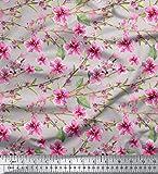 Soimoi Grau Baumwolljersey Stoff Blätter & Blüten Blumen-