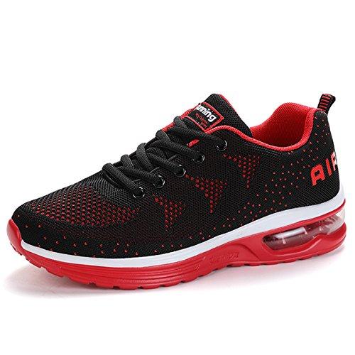 SITAILE Unisex Uomo Donna Scarpe da Ginnastica Scarpe da Corsa Sportive Fitness Running Sneakers Basse Scarpe da Basket Ragazzo Ragazza Casual Gym Shoes Nero-rosso