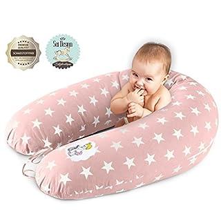 Sei Design Stillkissen Schwangerschaftskissen XXL 190 x 30cm   Füllung: schadstoffgeprüfte 3-D Faserbällchen Ökotex zertifiziert. Bezug mit Reißverschluss und hochwertiger Stickerei.