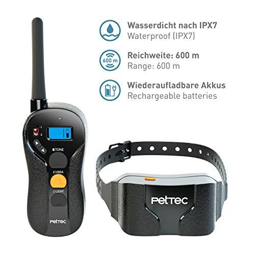 PetTec Remote Vibra Trainer Advance, Erziehungshalsband mit Vibration und Tonsignal, inkl. Fernbedienung 600m Reichweite, aufladbarer Akku, wasserdicht IPX7