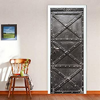 Baffect 3d Door Stickers Diy Wooden Door Wallpaper Self Adhesive