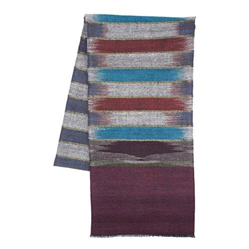 KASHFAB Cachemire Femmes Mode Hommes Ikat Weave Echarpe, Echarpe Cachemire, Soft Long Châle, Warm Pashmina fait main Marron Or