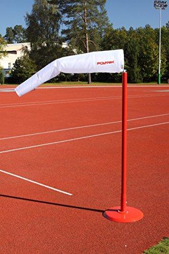 Preisvergleich Produktbild Polanik Drehbarer Windanzeiger mit Windsack - aus rot pulverbeschichtetem Stahl - Ausstattung für fast alle Leichtathletikdisziplinen