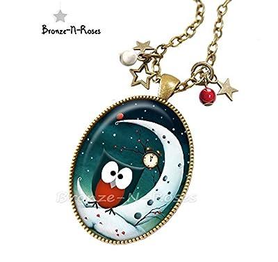 Sautoir Chouette au clair de lune cabochon étoile bronze bijou hibou fantaisie bronze-n-roses