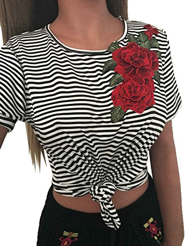 Smile YKK T-shirt Manche Courte Femme Top Col Rond Crop Chic Rayures Fleur Imprimé Soirée Casual Multicolore